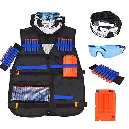 AMOYER Chaleco Kit para niños Nerf Guns N-Strike Elite con 1Pcs 8-Dart Balas Banda para la muñeca 20 Piezas de Espuma Suave Dardos sin Fisuras de la mascarilla y Gafas 1Pcs Recarga rápida Clip