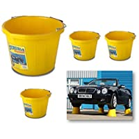 Likimen Home 4 X Invincible Heavy Duty Strong Large Yellow Builders Bucket Water Mixing Tub