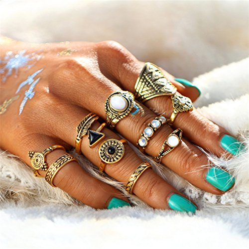Yinew 10Pcs Damen Knuckle Ring Set Vintage Midi Retro Nationalen Wind Tropfenden Öl Pfeil Diamant Ringe Schmuck
