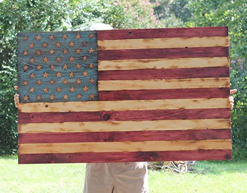 popeven Holzflagge Amerikanische Flagge Rustikale amerikanische Flagge Militär Geschenk Mann Höhle Palette Holz Flagge Amerika Decor Patriotische Decor Flagge Holz Handarbeit Holzschild