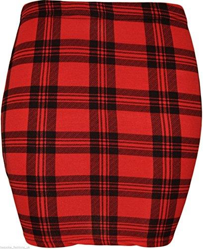 MIXLOT Nouveau Sexy Stretch Elasticated Jersey léopard Tartan Comic Print Bodycon été Mini jupe courte Red Tartan