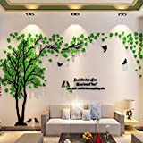 Haihuic 3D Wandtattoo Bäume & Vögel DIY Wandaufkleber Fernseheinstellungs-Wand-Sofa-Hintergrund für Wohnkultur Wohnzimmer Kinderzimmer 1m x 2m / 39 x 79 Zoll (Dunkelgrün)