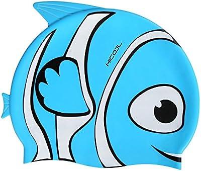 Gorro de natación, HiCool silicona impermeable de alta calidad de orejeras, gorro de natación para niños