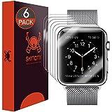 Skinomi TechSkin - Protection d'écran pour Apple Watch 38mm (protège l'écran dans son intégralité + imperméable), lot de 6