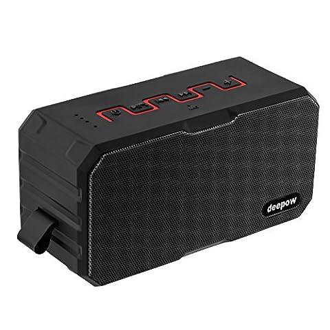 Bluetooth Lautsprecher, DEEPOW Outdoor Tragbarer Lautsprecher IP67 Wasserdicht, 10W 3000mAh Wireless Speaker / Musik Boxen / Bass Verstärker für Handy und PC, Mikrophone AUX TF geeignet, USB zum Powerbank Aufladen, Benutzerfreundliches Design süßes Geschenk zum