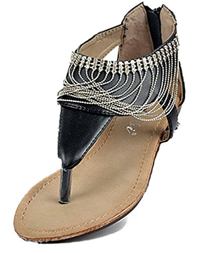 Fortuning's JDS Der neuen Ankunftsfrauen Perlen Quasten flachen Sandalen entwerfen Schwarz