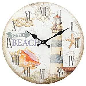 Pendule horloge murale phare nautique to the beach 34cm for Pendule de cuisine amazon