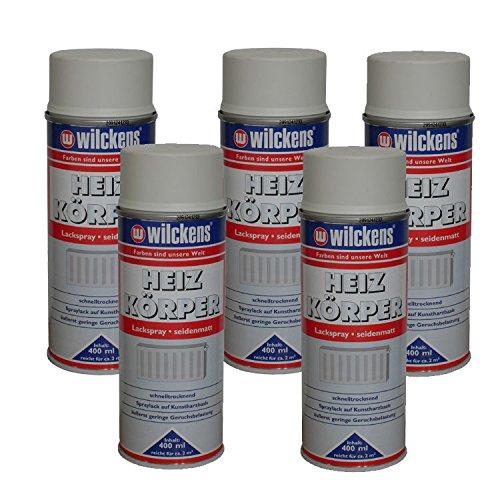 5 x Spraydose Heizkörper Lackspray reinweiss seidenmatt 400ml Alkydharzlack -