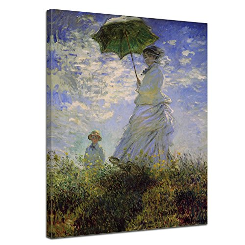 Wandbild Claude Monet Frau mit Sonnenschirm - 60x80cm hochkant - Alte Meister Berühmte Gemälde Leinwandbild Kunstdruck Bild auf Leinwand