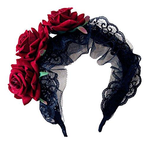 LUOEM Gothic Headband Lace Flower Head Piece Hair Band accesorio del partido favores del traje Suministros - disfraces de Halloween regalo para mujeres niñas (negro)