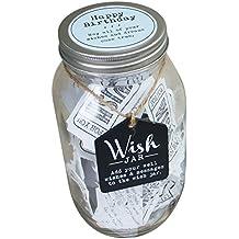 Top Shelf Happy Birthday wish Jar–bianco–Kit completo di biglietti e coperchio decorato Blue