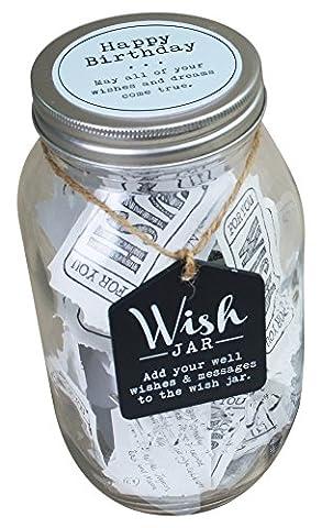Étagère supérieure Happy Birthday wish Bocal–Blanc–Kit est livré avec des Services et couvercle décoratif