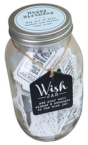Top Regal HAPPY BIRTHDAY Wish Jar – Weiß – Kit kommt mit Tickets und dekorative Deckel blau