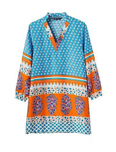 PU&PU Robe Aux femmes Ample Street Chic,Fleur Col en V Au dessus du genou Polyester BLUE-M