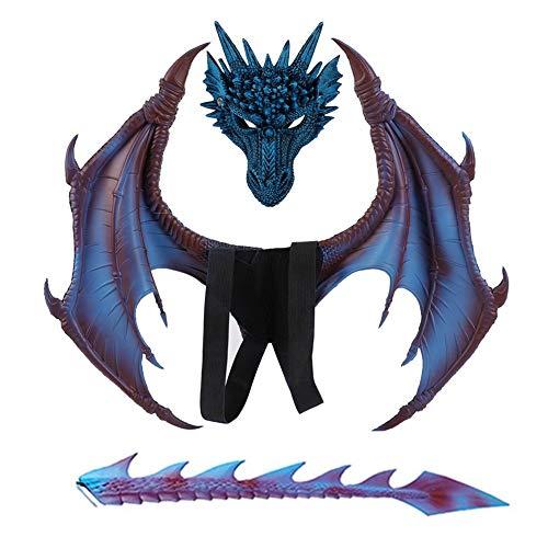 Nwlzx Halloween Karneval Kostüm Cosplay Dragon Dämon Drachenflügel für Kinder mit Schwanz Maske Dekoration Zubehör-Blue (Blue Dragon Kostüm)