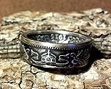 Coinring, Münzring, Ring aus sehr alter Münze (1 Mark Deutsches Kaiser-Reich 1915), 900er Silber - Double Sided coin ring - Größe 52 (16.6), handgeschmiedetes Unikat