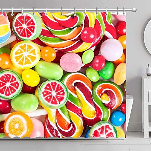 FamyFirst Dickes Duschvorhang Hochauflösender Druck 180x180cm Bunte Lutscher und Verschiedene Farbige Runde Candy Wasserdichte Badezimmer Dekor