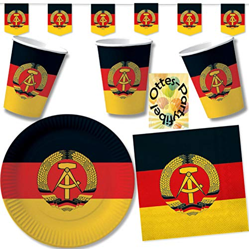 HHO Nostalgie Ostalgie DDR Party-Set 41tlg. für 10 Gäste : Becher Teller Servietten Wimpel
