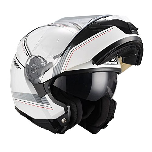 NZI - Casco Modular FIBRA Combi DUO Graphics Bands Blanco Decorado (L)