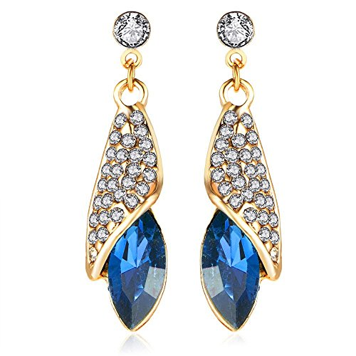 Crunchy Fashion Jewellery Gold Plated Blue Crystal Dangle & Drop Earrings For Women