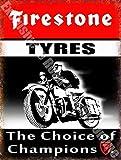 RKO Firestone Neumáticos la elección de Champions Coche & Moto Vintage Garaje Metal/Cartel para Pared de Acero - 20 x 30 cm