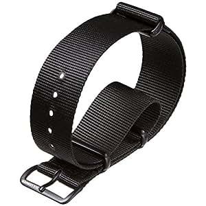 Bracelet de montre militaire G10 NATO en nylon par ZULUDIVER® Boucles IP PVD Noir, Noir, 20mm