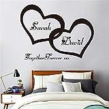 GJQFJBS Hearts Coppia personalizzata Nome Vinyl Art Wall Sticker Decal per coppia camera da letto romantico murale per la decorazione domestica bianco 58x44cm