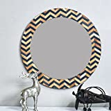 Casa Decor Accentiv Waggles Mirror Wall Hanging Wooden Wall Decor Round Shape For Living Room, Bedroom, Kids Room