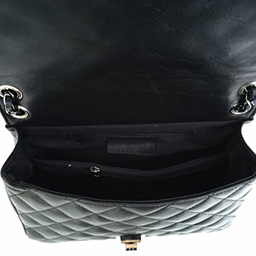 SUPERFLYBAGS Borsa in vera pelle trapuntata modello Loira Made in Italy nero