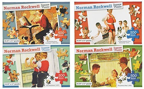Set of 4 Different Norman Rockwell Jigsaw Puzzles - 500 Pieces in Each -