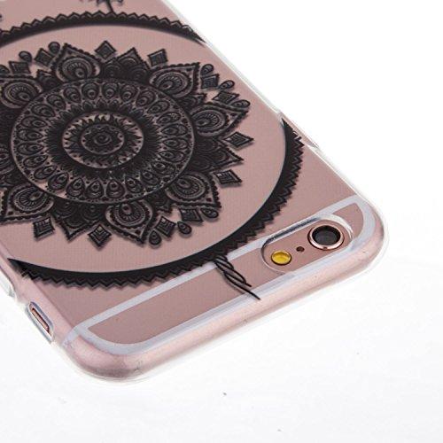 iPhone 6S Plus Hülle,iPhone 6 Plus Hülle,iPhone 6S Plus / 6 Plus Hülle,ikasus® TPU Silikon Schutzhülle Case Hülle für iPhone 6S Plus / 6 Plus,Durchsichtig mit Schwarz Gemalte Muster Handyhülle iPhone  Schwarz Traumfänger Feder