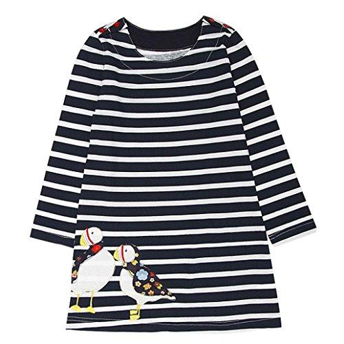 aby Mädchen Kind Herbst Kleidung Pferd Print Stickerei Prinzessin Langarm T-shirts Party Kleid Mini Kleid (2T, D-Black 2) (Black Party Kleider Für Mädchen)