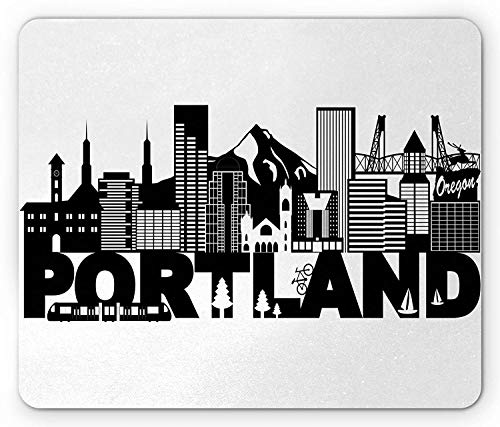 Portland Mouse Pad, Famous Landmarks in Oregon State Buildings Mount Hood and Hawthorne Bridge Gaming Mousepad Office Mouse Mat Black and White - Oregon Lager