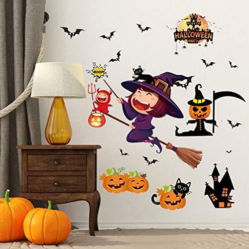 1 stück abnehmbare halloween wandaufkleber cartoon kürbis fledermäuse pvc aufkleber home party wohnzimmer wandbild wand fenster dekoration