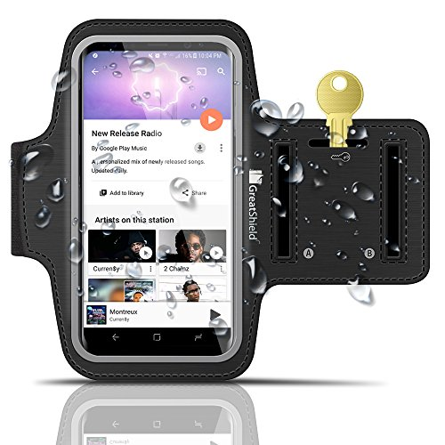 Galaxy S7 Armbinde, GreatShield FIT Neoprene Dehnbar Arm Holder Armhalter Hülle für Sports Workout mit Key Slot für Samsung Galaxy S7/S6/S6 Edge, HTC One M9/M8, LG G3, Motorola Droid Turbo (Schwarz) Handy-fall, Htc M7