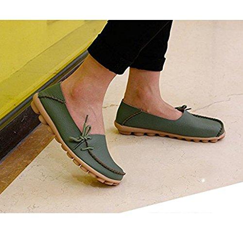 Eagsouni Damen Mokassin Bootsschuhe Leder Loafers Schuhe Flache Fahren Halbschuhe Slippers Armeegrün