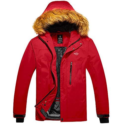 Wantdo Chaqueta con Capuchadas para Hombres de Invierno Contraviento Rojo Medium