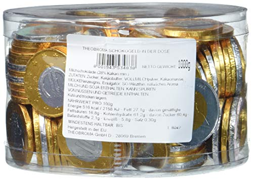 Theobroma Schokogeld 1 und 2 Euro Münzen gemischt, 1er Pack (1 x 1 kg) (Schokolade Schokolade-münzen)