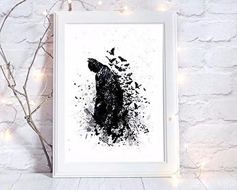 bat man batman gift a4 glossy print poster UNFRAMED picture nursery gift watercolour paint splatter
