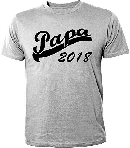 Mister Merchandise Herren Men T-Shirt Papa 2018 Tee Shirt Bedruckt Grau