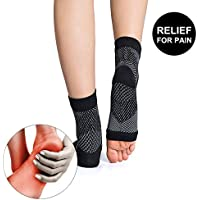 MeoWoo- Calcetines Fascitis Plantar de Compresión -para Alivio del Dolor de los pies y de los Talones y Mejora la circulación (Negro)