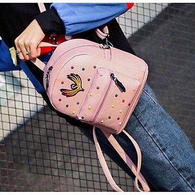 Frauen Rucksack PU All Seasons Casual Runde Reißverschluss Rot Rosa Schwarz Grün Blushing Pink
