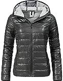 Fresh Made Damen Übergangsjacke Herbst-Jacke mit Kapuze 44399A Anthrazitgrau Gr. S