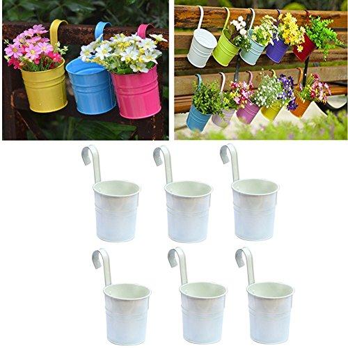 x macetas de flores colgantes para colgar macetas para colgar cubo metal hierro balcn jardn