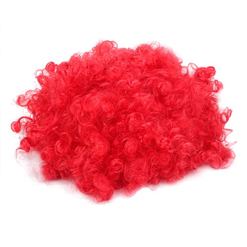 HDE Bright rot Orphan Annie Afro lockig Clown Halloween-Kostüm Party Neuheit (Kostüm Mcdonalds Clown)