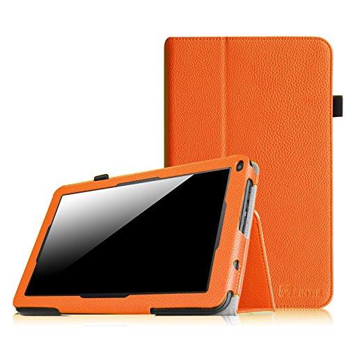Fintie Premium Kunstleder Folio Hülle Case Schutzhülle Tasche Etui für Dragon Touch A93 9\'\' Quad Core Tablet PC Google Android 4.4 KitKat, Time2 Tablet-PC 9 Zoll - Orange