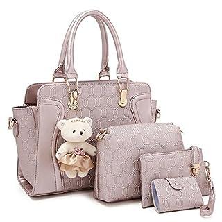 Women 4 Pieces Leather Handbags Clutches Shoulder Bag Wallet Card Bag Set (golden)