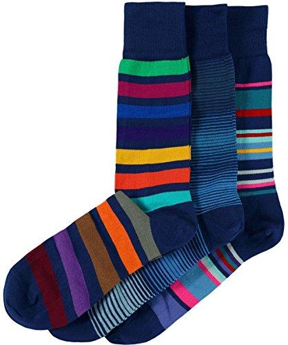 Paul Smith Uomo Tre Pack di calzini a strisce Multi Colorata Unica Taglia
