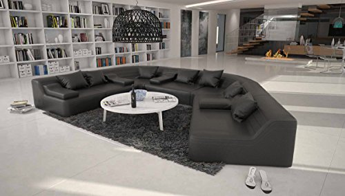 Wohnlandschaft halbrund  Rund-Sofa mit Bezug aus schwarzem Microfaser 410x272 cm halbrund ...