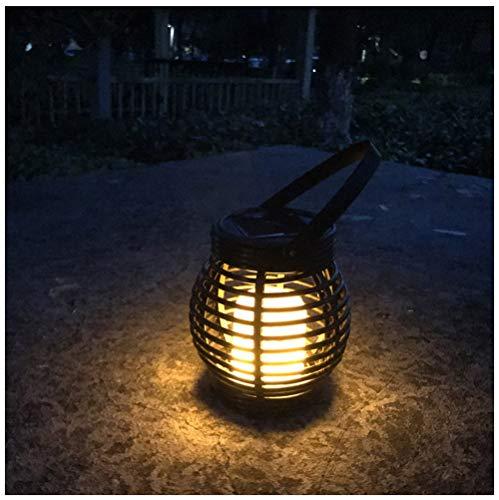 Jiege Solarleuchte für Außen,Handmade Outdoor handgefertigte rote geflochtene Rattan Laterne Solar Flamme Lampe 51 LED-Käfig Tischleuchte Garten Kronleuchter, geeignet für Hof, Villa, Garten -